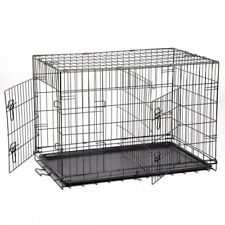 "Dog Kennel Large 48"" Folding Steel Pet Crate Wire Metal Cage 2 Doors Divider"