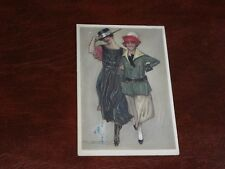 ORIGINAL MAUZAN SIGNED ART NOUVEAU ART DECO GLAMOUR POSTCARD - TWO LADIES.