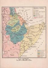 X930) WW ETIOPIA,  RAZZE E POPOLI, CARTOLINA GEOGRAFICA AFRICA ORIENTALE.