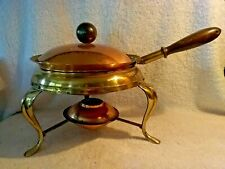 Vintage Llumas Handcrafted Copper 4 Piece Fondue Chafing Dish With Lidded