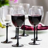 Tall Black Stem Elegant Wine Glass | Set of 6 | 330 ml