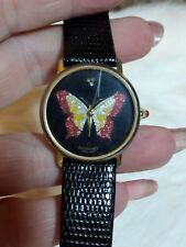 GIORDANO WOMENS GOLDTONE BUTTERFLY WATCH-BLACK FACE-BLACK FAUX LEATHER BAND