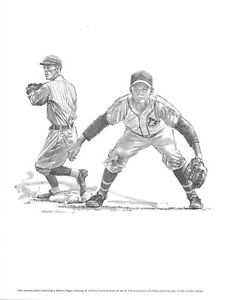 Johnny Evers Chicago Cubs 1960s REPRODUCTION OF ROBERT RIGER LITHOGRAPH