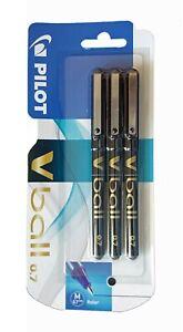 Pilot V Ball Rollerball Pens 3 Pack Black Liquid Ink 0.7mm Medium Tip