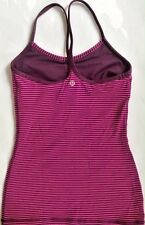 LULULEMON Power Y Tank Top w Shelf Bra Hyper Stripe Raspberry Glo Plum sz 6  EUC