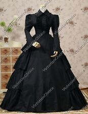 Victorian Civil War Gothic Black Gown Dress Steampunk Theater Clothing N 007 Xl