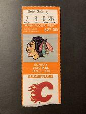 1/3/88 NHL CHICAGO BLACKHAWKS TICKET STUB vs CALGARY FLAMES DENIS SAVARD 2G
