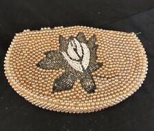 1950s Beaded Sead Pearls Mini Purse Clutch With Floral Center Design Vintage