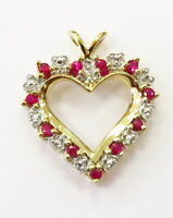 10k Yellow Gold Ruby and Diamond Heart Charm Necklace Pendant ~ 2.6g