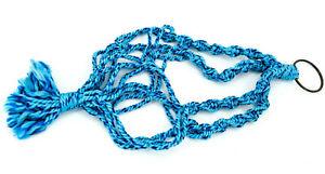 "Vintage Macrame 70s Plant Hanger Hippie Boho Wooden Beads 35"" Retro Blue"