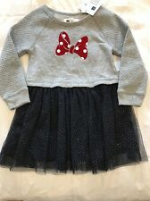 Baby Gap Disney Girls Minnie Mouse Dress 3T NWT Gray Navy Blue Red $44 Retail