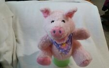 "Plush Pink Pig Full Body Hand Puppet approximately 9"" Purple Bandana no sound"