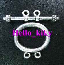 30set Tibetan silver 2-strands oval toggle clasps A5011