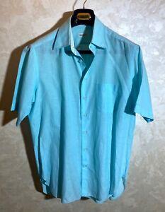 Zilli Light-Green 65% Cotton, 35% Linen Short Sleeves Shirt Size 43/17