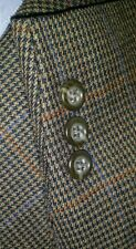 48R Orange Blue Check Plaid Tweed Houndstooth Wool Sport Coat Blazer Jacket