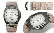 NEW Rousseau 14046 Men Lorenzo Collection Square Gunmetal Case Tan Leather Watch