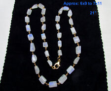"Rainbow Moonstone Sterling Silver Gemstone Beads Chain Necklace- 21"" 7x11mm"