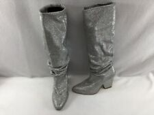 Stuart Weitzman Smashing Silver Metallic Knee High Boots Size 9M  H2487/