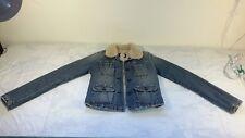 Juniors Abercrombie Fur Collar Denim Button Up Jacket Quilted Interior Sz LARGE