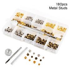 180Pcs/Set Leather Rivets Double Cap Rivet Tubular Metal Studs Fixing Tool