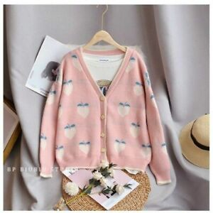 Lady Fruit Jacquard Knitted Cardigan Sweater Jumper V Neck Peach Top Cute Casual