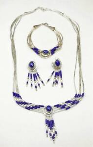 Vintage Lapis Lazuli Sterling Silver Liquid Necklace Earrings Bracelet Set