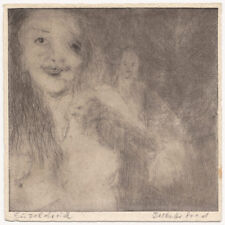 Original 1970s expressive nude etching, signed