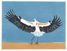 Stork Landing, original artwork, signed, blue, ltd edition