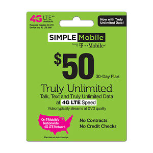 Simple Mobile $50/Month Refill Pin,Unlimited Talk, Text, & Data!
