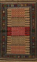 Tribal Geometric Kilim Oriental Area Rug Hand-Woven Wool Traditional Carpet 4x6