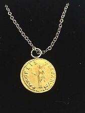 "Aureus Of Otho Coin WC66 Gold Pewter On a 18"" Silver Plated Chain Necklace"
