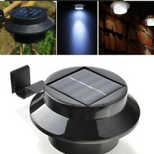 Black Solar Gutter Light Fence Lamp Water Resistant Switch 3LED lamp Cool White