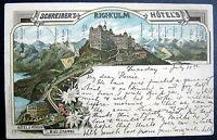 SWITZERLAND~SCHWEIZ~1898 SCHREIBER'S RIGI KULM HOTEL ~  LITH.