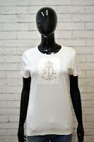 Maglia RALPH LAUREN Donna Taglia L Maglietta Shirt Woman Bianca Polo Slim Jersey