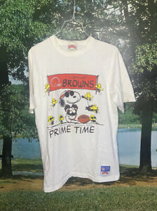 Vintage 1970s NFL Snoopy Cleveland Browns Nutmeg Made In USA Size Medium White