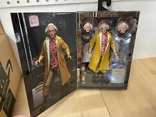 Back to the Future 2 Ultimate Doc Brown 7 inch figure NECA dinged package