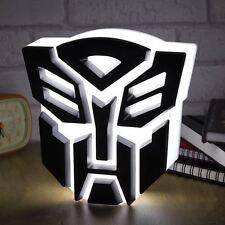 Transformers Autobot insignia con logotipo de luz USB LED Lámpara de Escritorio Dormitorio de Niños Luz De Noche