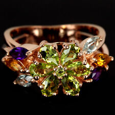 REAL PERIDOT AMETHYST CITRINE TOPAZ STERLING 925 SILVER FLOWER RING SIZE 7.25