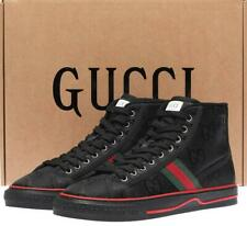 NEW GUCCI GUCCISSIMA BLACK WEB TENNIS 1977 HIGH TOP SNEAKERS SHOES 10/US 10.5