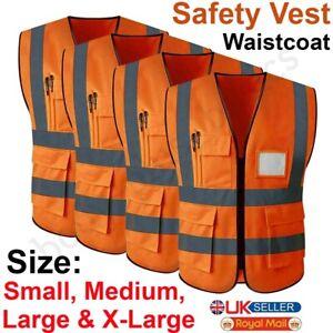 Hi Viz Visibility Safety Vest Waistcoat High Vis With Phone ID Pockets Orange UK