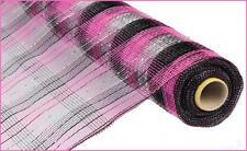 Deco Mesh Pink Black Silver Metallic 21 inch 10 yard roll cb16cs re1059et NEW