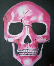 OIL PAINTING CANVAS ART PINK ROSE GIRLY SKULL HEAD BONES FACE BLACK PAGAN WICCAN
