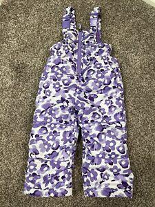Pink Platinum Toddler Snowsuit, Purple Floral, Size 2T