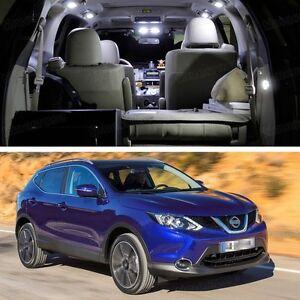 7x LED White Light Interior Bulbs Package Deal for Nissan Qashqai 2014-2016 2015