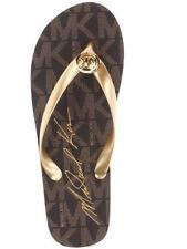 Michael Kors MK Flip Flop Open Toe Flip Flop Sandal Brown Gold 9