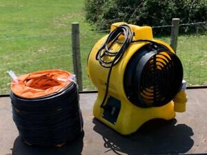 """Commercial 110v 8"""" 200mm Air Mover Fume Extractor Fan Blower & 7m Duct"""