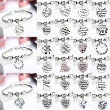 Family Mom Daughter Son Dad Grandma Bracelet Bangle Jewelry Heart Paw Pet Gift