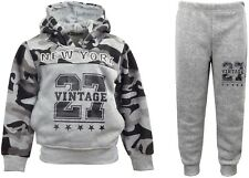 Boys Army Jogging Suits Camouflage Tracksuits Hoodie Joggers Kids Clothes 3-12yr 11-12 Years Grey