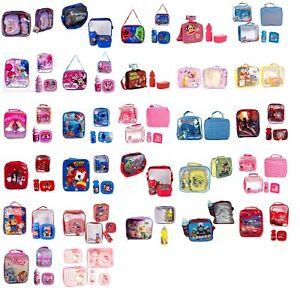 New Kids Boys Girls Disney Character Theme Print School Lunchbox Set Bottle