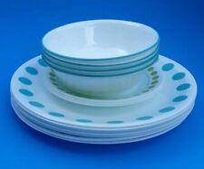 Set of 14 Corelle Vitrelle USA Retro South Beach Green Dot White Plates Vintage